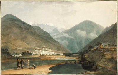 The Former Winter Capital of Bhutan at Punakha Dzong, 1783 (w/c on paper) by Samuel Davis - print
