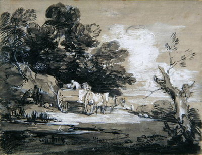 Wooded Landscape with Country Cart and Figures, c.1785-88 (black & white chalk with wash on paper) by Thomas Gainsborough - print