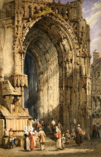 The Porch, Rheims Cathedral, c.1840 (w/c, gouache & ink on paper) by Samuel Prout - print