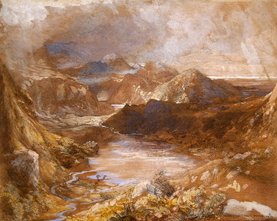 Llwyngwynedd and part of Llyn-y-ddina Between Capel Curig and Beddegelert, North Wales, 1835-36 (w/c, gouache & graphite on paper) by Samuel Palmer - print