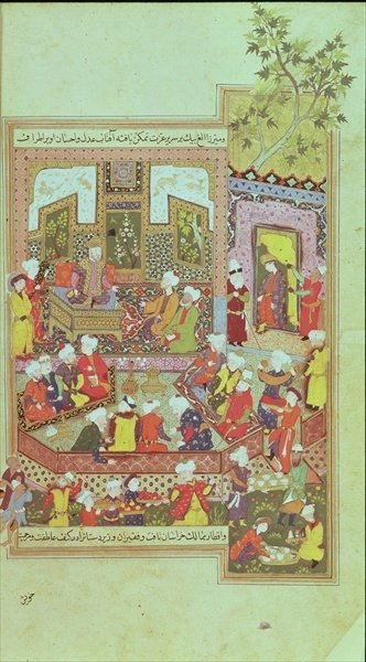 Ulugh Beg (1393-1449) dispensing justice at Khurasan, illustration from the 'Shahnama' (Book of Kings), by Abu'l-Qasim Manur Firdawsi (c.934-c.1020) 1486 (vellum) by Persian School - print
