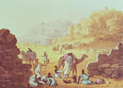 A Slave Caravan, plate from 'A Narrative of Travels in Northern Africa', 1821 (litho) by Captain George Francis Lyon - print