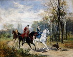 Riding, 1879 Poster Art Print by Nicolas Lancret