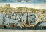 The City and Port of Barcelona Poster Art Print by English School