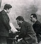 The composers Pietro Mascagni, Albero Franchetti and Giacomo Puccini at the piano, 19th-20th century Poster Art Print by Johann Zitterer