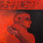 Head of a Sumerian woman in red, 2005 Poster Art Print by Firyal Al-Adhamy