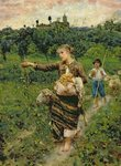Shepherdess carrying a bunch of grapes Poster Art Print by Maylee Christie