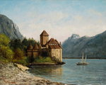 The Castle of Chillon, Evening, c.1872 Poster Art Print by Philip James Loutherbourg