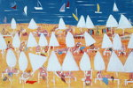 White sun umbrellas, 2004 Poster Art Print by Anne Durham