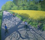 Cyclists and Yellow Field, Kedleston, Derby Poster Art Print by Terrence Nunn