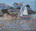White sailboat, Palais sur Mer, France Poster Art Print by William Ireland