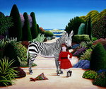 Girl with Zebra, 1984 Poster Art Print by Anthony Southcombe
