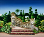 Jaguars in a Garden, 1986 Poster Art Print by Anthony Southcombe