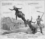 Political jugglers losing their balance, published by J Childs, New York, 1840 Poster Art Print by American School