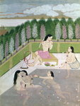 Girls Bathing, Pahari Style, Kangra School, Himachel Pradesh, 18th century Poster Art Print by Pahari School
