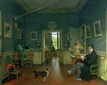 Interior of a Dining Room, 1816 Poster Art Print by Vilhelm Hammershoi