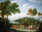 An Extensive Italianate Landscape with a Sacrifice, 1728 Poster Art Print by Joseph Werner