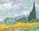 Wheatfield with Cypresses, 1889 Poster Art Print by Alfred Sisley