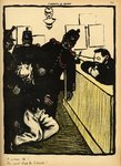 Three policemen bring a man beaten black and blue into the police station, from 'Crimes and Punishments', special edition of 'L'Assiette au Beurre', 1st March 1902 Poster Art Print by Felix Edouard Vallotton