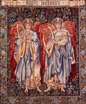 Angeli Laudantes, tapestry designed by Henry Dearle with figures by Edward Burne-Jones originally drawn in 1877/78, woven at Merton Abbey in 1894 by Morris and Co. Poster Art Print by Albert Gustaf Aristides Edelfelt