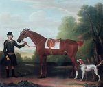 Fine Art Print of Lord Portman's 'Snap' held by groom with dog by James Seymour