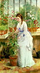 Young Lady in a Conservatory Poster Art Print by Marjorie Weiss