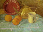 Still Life with Fruit and a Pitcher or Synchronization in Yellow, 1913