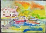 Riverside Pub with boats Poster Art Print by Walter Greaves