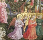 Angels in a heavenly landscape, the left hand wall of the apse, from the Journey of the Magi cycle in the chapel c .1460 Poster Art Print by Benozzo di Lese di Sandro Gozzoli