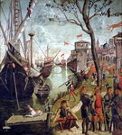 Arrival of St.Ursula during the Siege of Cologne, from the St. Ursula Cycle, 1498 Poster Art Print by Master Francke
