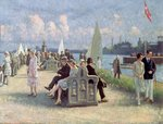 People on a Promenade Poster Art Print by Rose Maynard Barton