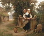 Rustic Courtship Poster Art Print by Charles James Lewis