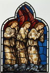 Three Angels, stained glass window removed from the east window of St. James' Church, Brighouse, West Yorkshire Poster Art Print by Dante Gabriel Rossetti