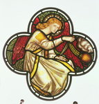 Window of an Angel swinging a censer, made by the William Morris factory, 1870