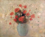 Vase of poppies Poster Art Print by Norman Hollands