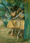 Three Dancers with a Backdrop of Trees and Rocks, 1904-06 Poster Art Print by Edgar Degas