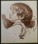 Fine Art Print of Head of a boy in profile to the ledt by Jean Baptiste Greuze