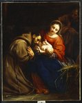 The Holy Family with St. Francis, 1665 Poster Art Print by Frans II the Younger Francken