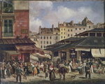 View of the Market at Les Halles, c. 1828 Poster Art Print by German School