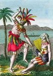 Native inhabitants of the Marquesas Islands, illustration from 'Histoire des Voyages Autour du Monde' by J. Dufay, published by Courvalet & Co., Paris, 1826 Poster Art Print by Maximilien Radiguet