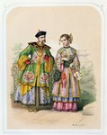 Chinese gentleman and lady, mid 19th century Poster Art Print by Chinese School