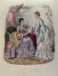 Fashion plate showing ladies in dresses designed by Mme Breant-Castel and looking at photo albums, 1872