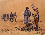Soldiers peeling potatoes during the First World War at Marizelle in the Aisne Department, France, 1917 Poster Art Print by Sarah Thompson-Engels