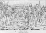 Death of General Desaix at the battle of Marengo on 14th June 1800, after a painting by Jean Broc, Salon of 1806, engraved by Charles Normand Poster Art Print by Emanuel Gottlieb Leutze