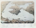 Panoramic view and plan of Sevastopol and the Black Sea Coast at the time of the Crimean War, 1855 Poster Art Print by English School