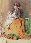 """Tick, Tick, Tick"" - a girl sitting on her mother's lap listening to her gold watch ticking, 1867 Poster Art Print by William Henry Hunt"