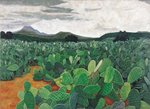 Patch of Prickly Pears on the Way to Tulancingo Poster Art Print by Pedro Diego Alvarado