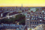 Panorama of the eight bridges, from 'Souvenirs De Paris - Monuments Vues en Couleurs' Poster Art Print by Adolphe Giraudon