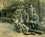 Group of German soldiers with a dog, 1914-18 Poster Art Print by German Photographer