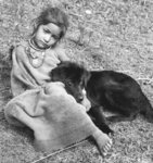 Girl and dog, Garhwal Poster Art Print by Maylee Christie